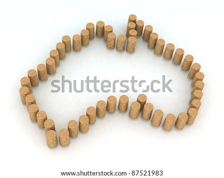 australia map with cork 3d illustration