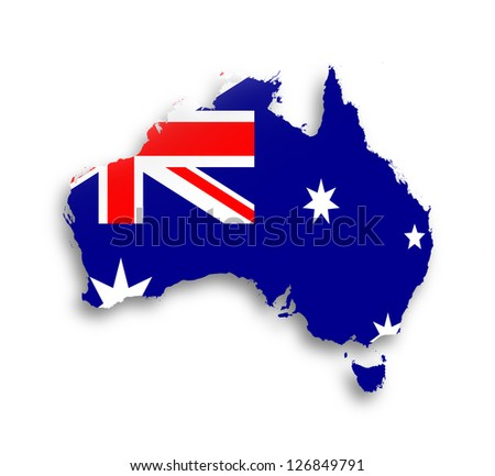 Australia map with the flag inside, isolated