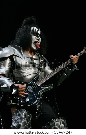 AUSTRALIA - MARCH 20: Gene Simmons of KISS performs on the Australia leg of their Alive 35 tour on March 20, 2008  Sydney Australia - stock photo
