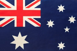 Australia national fabric flag, textile background. Symbol of international world country. State official sign.