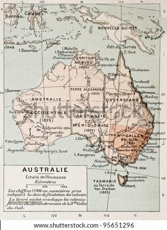 Australia old map. By Paul Vidal de Lablache, Atlas Classique, Librerie Colin, Paris, 1894