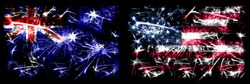 Australia, Ozzie vs United States of America, American, USA New Year celebration sparkling fireworks flags concept background. Combination of two abstract states flags.