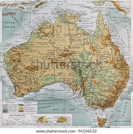 Australia physical map. By Paul Vidal de Lablache, Atlas Classique, Librerie Colin, Paris, 1894 (first edition)