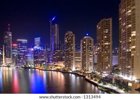 Australia, Queensland, Brisbane city skyline at night time