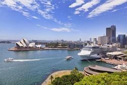 Australia Sydney CBD landmarks around Sydney Harbour view from Harbour Bridge lookout on a sunny summer day