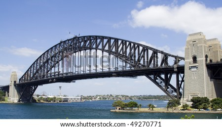 Australia Sydney Harbour bridge arch over harbor modern landmark blue sky line and white clouds view from Milsons Point