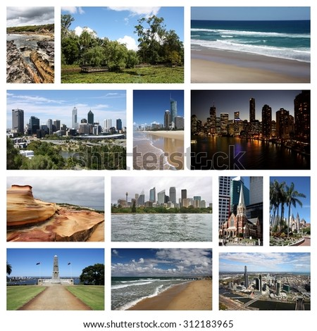 Australia travel photo collage - images collection with Sydney, Melbourne, Perth, Brisbane and Gold Coast.
