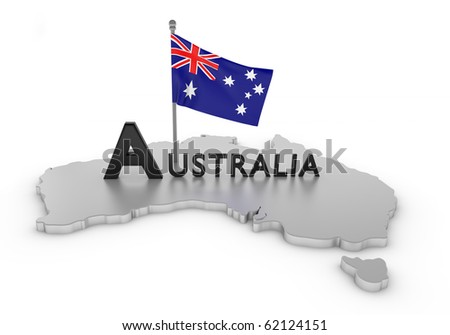 Australia Tribute/Digitally rendered scene with flag and typography
