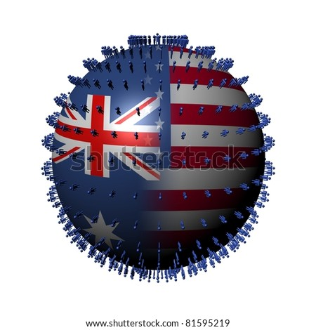 Australia USA flag sphere surrounded by people illustration