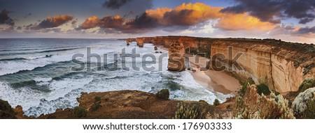 Australia Victoria Great Ocean road natural landmark 12 apostles at sunrise panoramic view from lookout