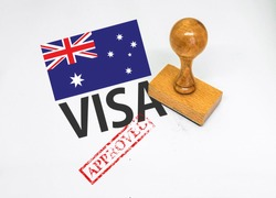Australia Visa Approved with Rubber Stamp and flag