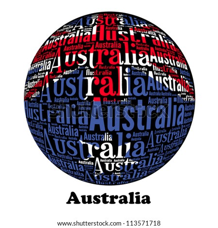 Australia Word Text Flag ( World Text Flag Series )