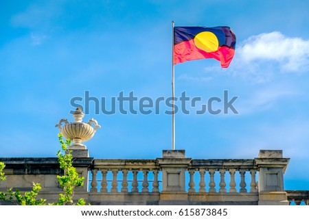 Australian Aboriginal flag installed on Old Parliament House on North Terrace in Adelaide city #615873845