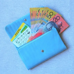 Australian bank notes, driver licence, medicare and coffee stamp cards in blue purse