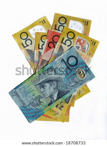 Australian Bank notes isolated on white background