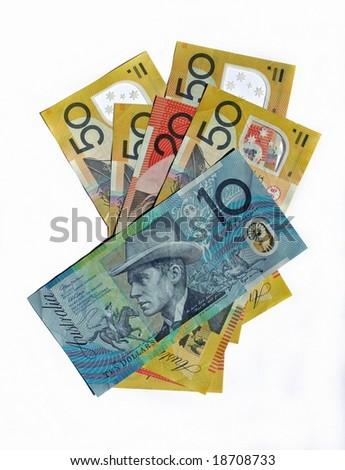 Australian Bank notes isolated on white background