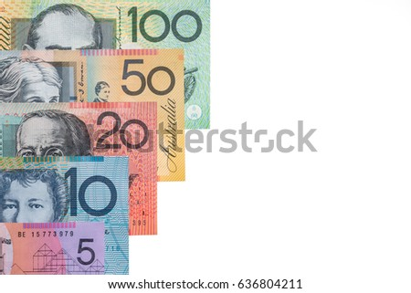 Australian bank notes on white background with copy space