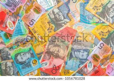 Australian banknotes background of dollars of Australia, AUD currency. Financial colorful background.
