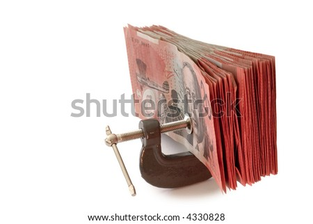 australian banknotes in a g-clamp, metaphor for restriction on spending
