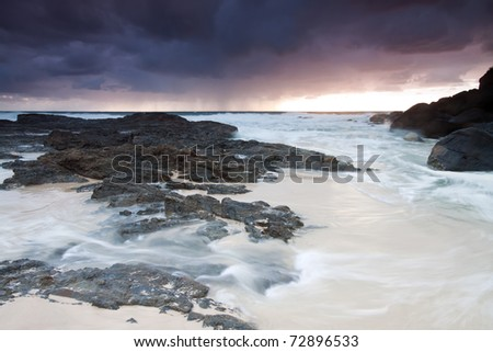 australian beach at sunrise (tweed heads,qld,australia)