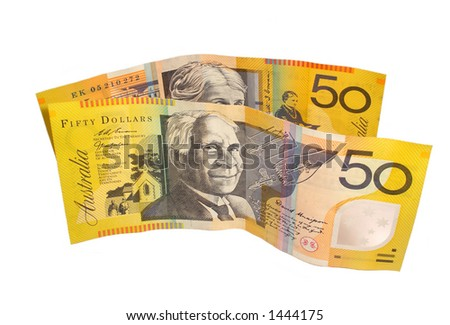 Australian $50 bills - stock photo