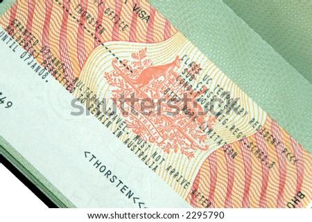 Australian 457 Business Visa In Green Passport Page
