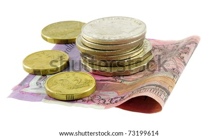 Australian cash over white surface - stock photo