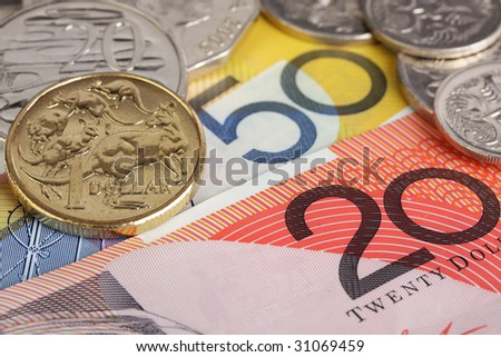 Australian coins on $20 and $50 dollar notes.