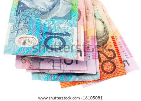 Australian currency, over white.