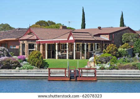 Australian family house, on the lake