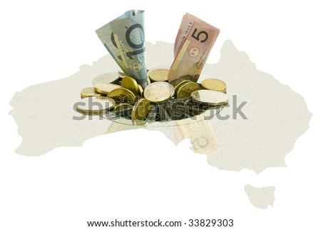 Australian financial crisis concept.  Coins and notes going down Australian stylized drain. Isolated on white
