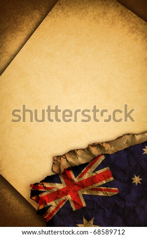 Australian flag and old paper