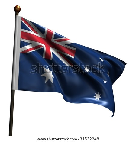 Australian flag. High resolution 3d render isolated on white.