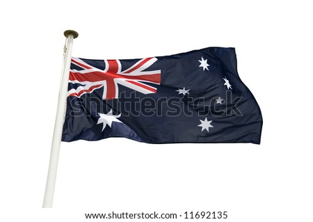 Australian flag isolated on a white background - stock photo