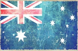 Australian Flag on Canvas. Grungy Australia Flag Background.