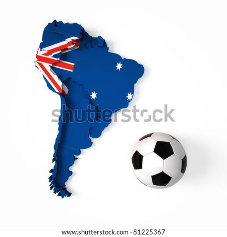 Australian flag on South American map