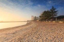 Australian foggy morning at Broadwater (Gold Coast, Labrador, QLD, Australia)