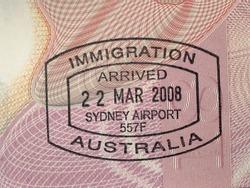 Australian immigration stamp in passport