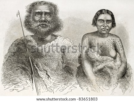 Australian indigenous old engraved portraits. Created by Fath after Petermann, published on Le Tour du Monde, Paris, 1860