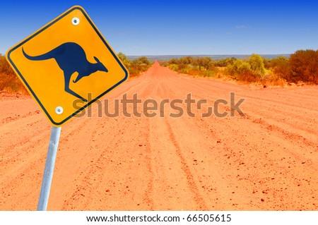 Australian kangaroo roadsign in red outback landscape