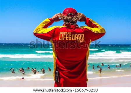 Australian lifeguard at the beach in style Foto stock ©