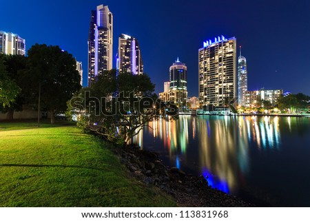 australian modern city at night (gold coast,  queensland,australia)