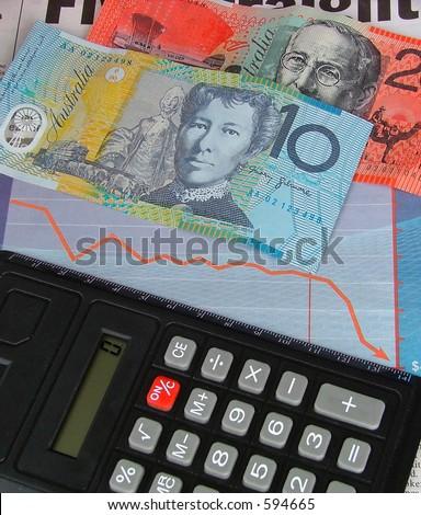dinero y calculadora australianos