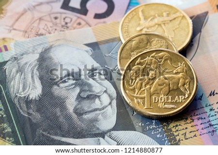 Australian money background, coins and notes. #1214880877