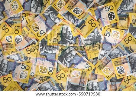 Australian money background.  Fifty dollar notes, top view. XXXL. #550719580