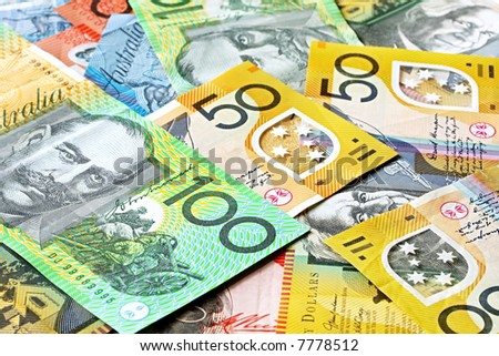 Australian money background.  Notes include $100, $50, $20 and $10.