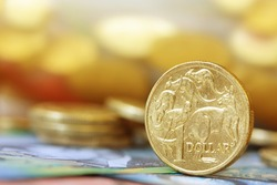 Australian money background.  Soft focus, shallow DOF, with lots of copy space.