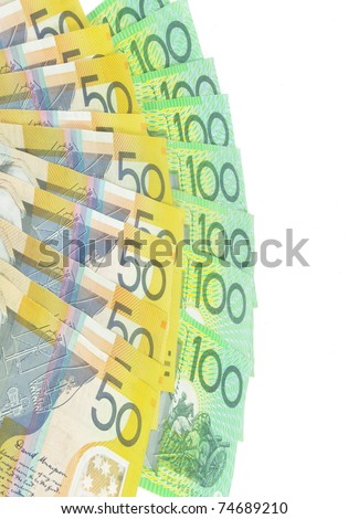 australian  money banknotes on white surface