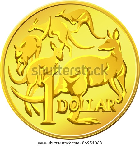 Australian money, gold one Dollar coin with the image of a kangaroo five
