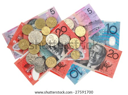 Australian money, scattered.  Overhead view, isolated on white.